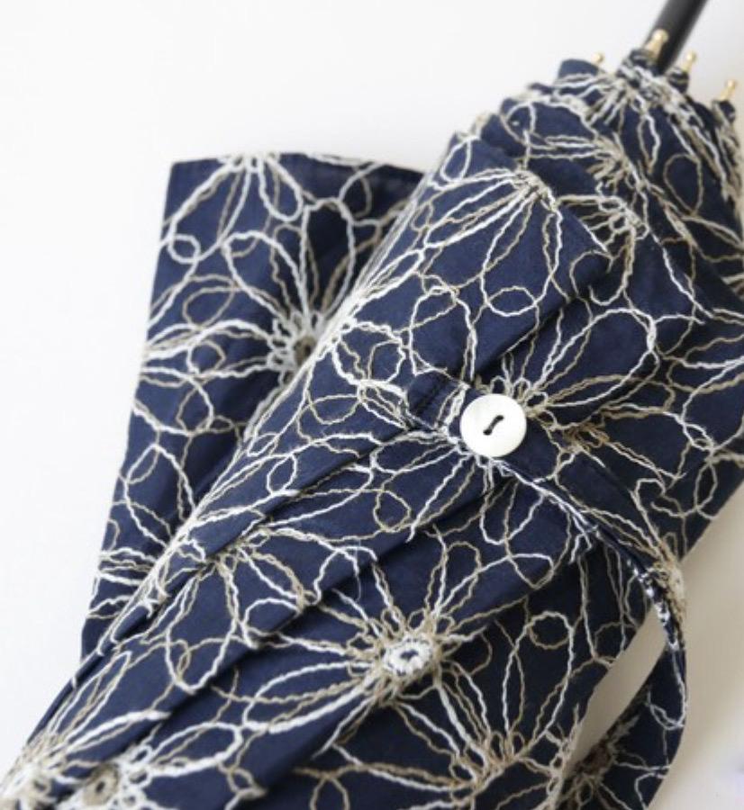 刺繍生地のこだわりの日傘(UVカット90%)ネイビー