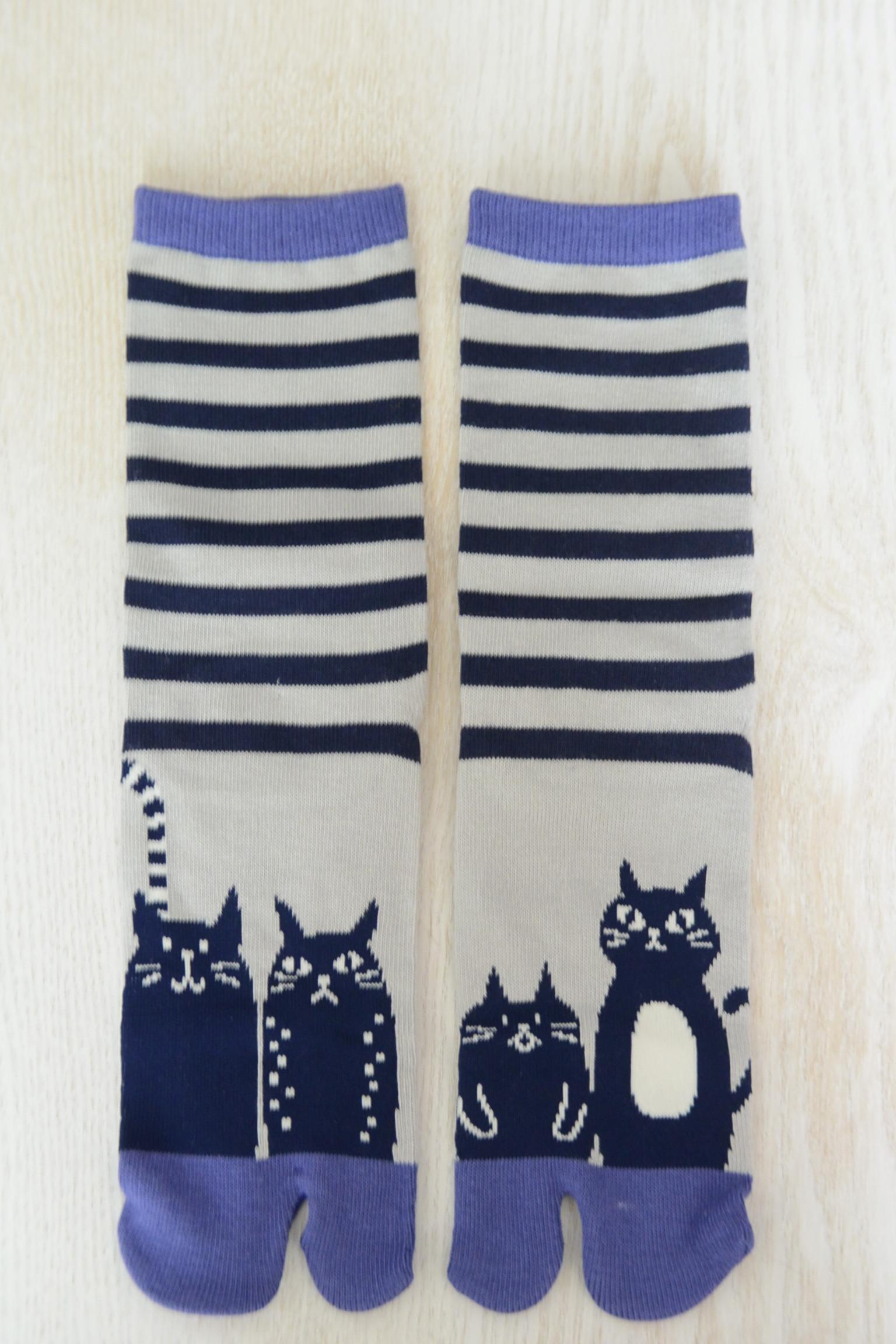 足袋ソックス 縞ネコ